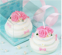 Wholesale Rose Flowers cream cake Design Candle Favors Creative candle smoke free Birthday Gifts Wedding Supplies Wedding Gift Hot Sale