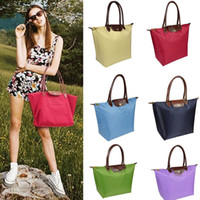 Wholesale quot Women Handbags PU leather Casual beach waterproof Folding shoulder bags nylon travel School tote bag bolsos mujer L Size