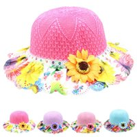 Wholesale 2015 Summer Beach Foldable Girls Sunscreen Hat Holiday Knitting sunflowers Shading Straw Hats for Child kids