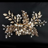 beaded hair combs - handmade bridal headpiece for women beaded hair combs gold leaves and flowers with pearl and crystal