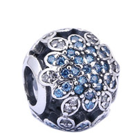 bead neclace - Sale BEuropean Brand Beads Fit Silver Pandora Charms Crystal Big Hole Beads Blue Stone Beads for Pandora Bracelet Neclace DIY PX0094