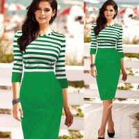 Wholesale New to the Autumn Office Dresses for Women Pancelled Striped Knee Length Pencil Dresses Elegant Quality Business Ladies Bodycon Dress