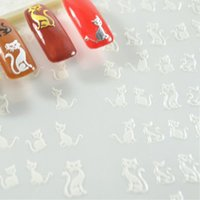 Wholesale 4Sets New Fashion White Color Cat Letter Logo Stars Pattern Design D Salon Quality Nail Art Stickers Decal Decoration