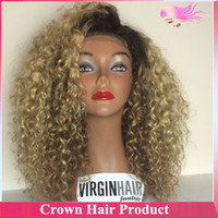 Cheap Top virgin brazilian hair front lace wig 180 density curly human 1b 27 two tone ombre wig,ombre full lace wig with heavy density