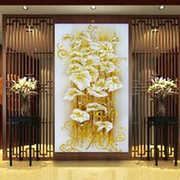 Wholesale 5D DIY diamond Painting crystal lily flower D Cross Stitch Decorative Needlework embroidery Full Round Rhinestone F002