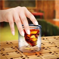 bar glasses wholesale - Doomed Crystal Skull Head Vodka Shot Glass Cup Beer Wine Whisky Drinking Cup for Home Bar Party Double Wall Glasses Cup ML Q1