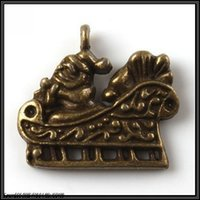 antique sledge - Alloy Christmas Sledge Pendants Antique Bronze Charms Fit Jewelry Making x20x3mm
