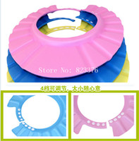 Wholesale DHL Freeshipping Lovely Soft Shampoo Bath Shower Cap for Child Kid Baby Wash Hair Shield Hat Yellow Pink Blue