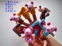Wholesale The Three Little Pig Fairy Story Puppet Baby Plush Toys Finger Puppets Animal Props Toys Story Action Figures Telling Teaching Toys A4777