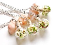 american moss - 10pcs Dried Ivory Flower and moss Terrarium Glass Globe Bottle Necklace crystal silver chain necklace teardrop necklace
