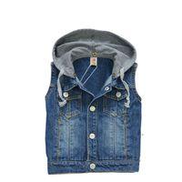 baby boy denim jacket - baby clothes boys girls winter jacket denim fashion hooded vest T T four plus size hand polished jacket boy down hot