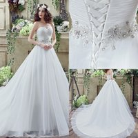 Wholesale Designed Cheap A Line Wedding Dresses Sexy Sweetheart Lace up Back with Beaded Crystal Sash Floor Length Bridal Gowns CPS242