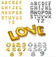 achat en gros de amour rose bleu lettre-Hot 16 '' Cute Silver / Gold bleu rose Lettre Alphabet A-Z Lettres numéro 0-9 Ballons Fête d'anniversaire de Nouvel An Décoration de mariage Ballon d'amour