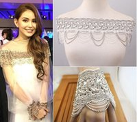 accessory sweetheart wedding - Lace Bateau Crystal Shoulder Chain Beading Adjustable With Jewelry bracelet Chain Bridal Accessories For Sweetheart Wedding Dresses