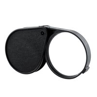 Wholesale New Portable Rotatable pc X Glass Lens Folding Cortical Pocket Magnifier With Leather Pouch Eye Glass