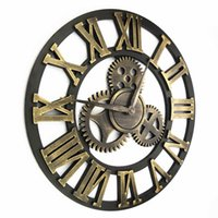 Wholesale DHL Handmade large D retro luxury rustic big art vintage decorative gear wall clock large on the wall D008