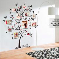 al por mayor gran marco de fotos-AY6031 nueva llegada Familia grande colorido marco de fotos Vinilos decorativos Kinder DIY del vinilo del arte del árbol engomadas de la pared de la decoración mural