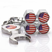 air america cap - GPS Metal Universal Car USA America United States Flag Tire Valve Caps Air Dust Covers Emblem Tool Wrench Keychain