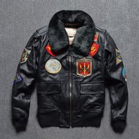 air force leather flight jacket - Fall Classic bomber models Air Force pilot leather jacket Men Wool collar Flight suits Genuine cowskin