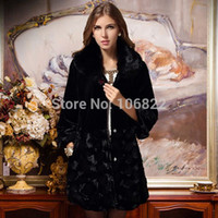 Wholesale FG1509 Brand newWomens Jacket Fox Fur Collar Outerwear Long Parka Long Sleeve Coat Overcoat