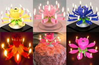 Wholesale Lotus Flower Music Candles Lotus Petal Wedding Birthday party Flower Music Candle Lotus Style Cake Topper Rotating Candle
