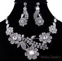 Wholesale Promotion Gift Alloy Acrylic Jewelry Set Lady Flower Neck White Gold Plated wedding jewelry