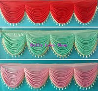 Wholesale 6 meter long elegant and luxury wedding table skirting swags with tassel wedding backdrop curtain decoration
