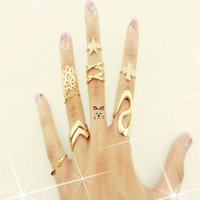 Cheap Korea Style Gold Plated Rhinestone Clover Lace Crystal Ring Tail Joints Jewelry Set