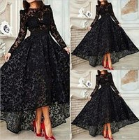 high low prom dresses - Vestido Black Long Sleeves A Line Lace Prom Evening Dresses Vintage High Low Prom Dresses Gowns EA0434