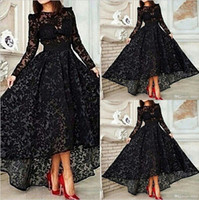 Wholesale Vestido Black Long Sleeves A Line Lace Prom Evening Dresses Vintage High Low Prom Dresses Gowns EA0434
