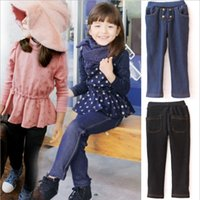 Casual Pants blue deep clothing - Imitation Cowboy Baby Girls Long Trousers Winter Thick and Woolen Children Girls Pants Kids Jeans Elastic Clothes Deep Blue Black L0163
