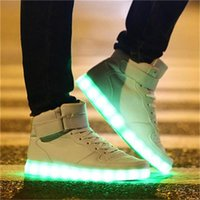 Wholesale High quality Colors LED Luminous Women Men high top Sneakers LED Shoes For Adults USB Charging Lights Shoes Black White
