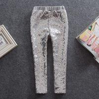 Wholesale UPS Fedex Free Girls Spring Autumn sequins Leggings kids girl shiny solid color pp pants children Bottoms princess pants