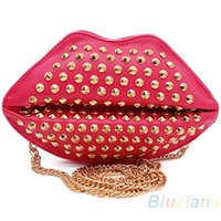 Wholesale Woman Girl Lips Rivet Studded Clutch Chain Shoulder Novelty Bag Purse Handbag with Rivet EZA
