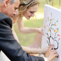 Wholesale DIY Wedding Fingerprint Tree Signature Guest Book for Wedding Party Graduation Sign in Figure Painting Size S L