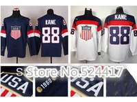 Cheap Cheap White 88 Patrick Kane USA Jersey 2014 Olympic Sochi Team USA Ice Hockey Jersey American Patrick Kane Jersey Blue