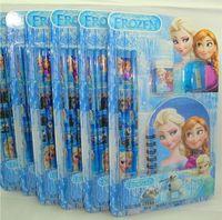 Wholesale Christmas Gift Frozen stationery Frozen Elsa Anna Stationery Pencil Eraser Notebook Sharpener ship immediately