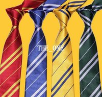 mens neckwear - magic movie harry potter tie Unisex School neckwear Gryffindor Slytherin Ravenclaw Hufflepuff Costume mens striped ties