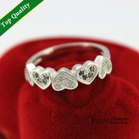 bague color - Silver Prata Cubic Zirconia Wedding Heart Bague Women Rings the Love Ring O Size Black White Color Share Y015