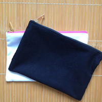 Wholesale solid color pure cotton canvas cosmetic bag with lining and gold zip custom make up bag blank zip bag customization custom color and size
