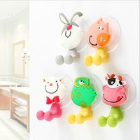 Wholesale Brand New Cute Animal Silicone Toothbrush Holder Home Set Wall Bathroom Hanger Suction