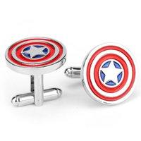 Wholesale Marvel Captain America Cufflinks Men Jewelry Cuff Links Accessories Television Original For Men Gift