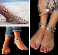 Wholesale 10pcs New Arrival Gypsy Coin Drop Ankle Chain Bracelet Belly Dance Bohemian Festival Fashion Womens Jewelry