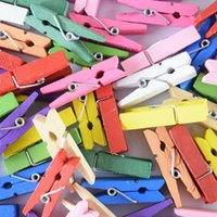 Wholesale 50pcs Colorful Mini wooden paper clips ETH082P Photo clips Wooden note Pegs office accessories