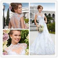 Wholesale 2015 Wedding Dresses High Neck Mermaid Wedding Dress with Cap Sleeves Sheer Neck Sweep Train Beaded Appliques Vintage Wedding Gowns