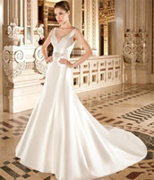 Cheap 2015 Satin A Line Wedding Dresses Sculpted V Neckline Back Sleeveless Covered Button Beaded Belt Bridal Gowns Chapel Train Demetrios