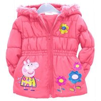 Cheap New 2014 Girl's Peppa Pig Costume Children's Coat Cute Girls Warm Coat Winter Children Cotton Jacket thick Cotton-Padded Clothes With Hoody
