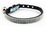 Wholesale NEW Cat Supplies Rhinestone PU Blue pet collar Cat Collars Pet Supplies Dog Collar colors