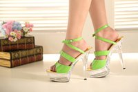 Cheap Green High Heels Platform Lady Formal Dress Women's Shoes Fashion Sandals Dance Shoes Wedding Shoes