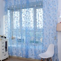 Wholesale Room Window Voile Curtain Drape Sheer Divider Scarf Rose Flower Pattern Color